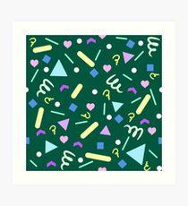 Retro Pastel Confetti in Green Art Print