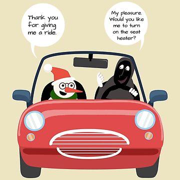 Snowmans Carpool-Ride Joke Funny Winter Stuff by oceanwaves