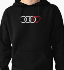 3 Audi Rings + Heart (White) Pullover Hoodie