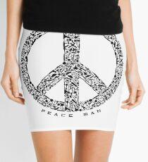 Peace Man Design Mini Skirt