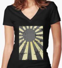 Japan Rising Sun Flag Grey Women's Fitted V-Neck T-Shirt