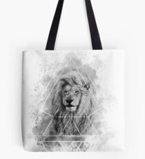 Sacred Majestic Black and White Lion Spirit Animal Tote Bag