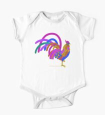 Colorful Abstract Rooster One Piece - Short Sleeve