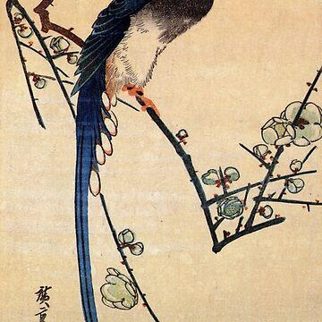 Blue Bird On A Plum Tree by Utagawa Hiroshige (Reproduction) by RozAbellera