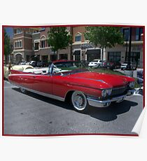 """Long And Red"" 1960 Cadillac Eldorado Convertible Poster"