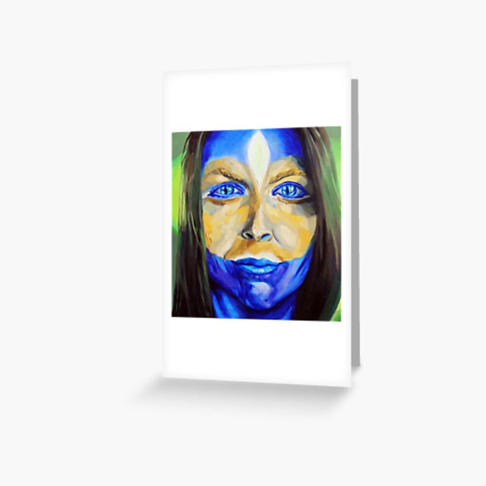 Blue Download (self portrait) Greeting Card