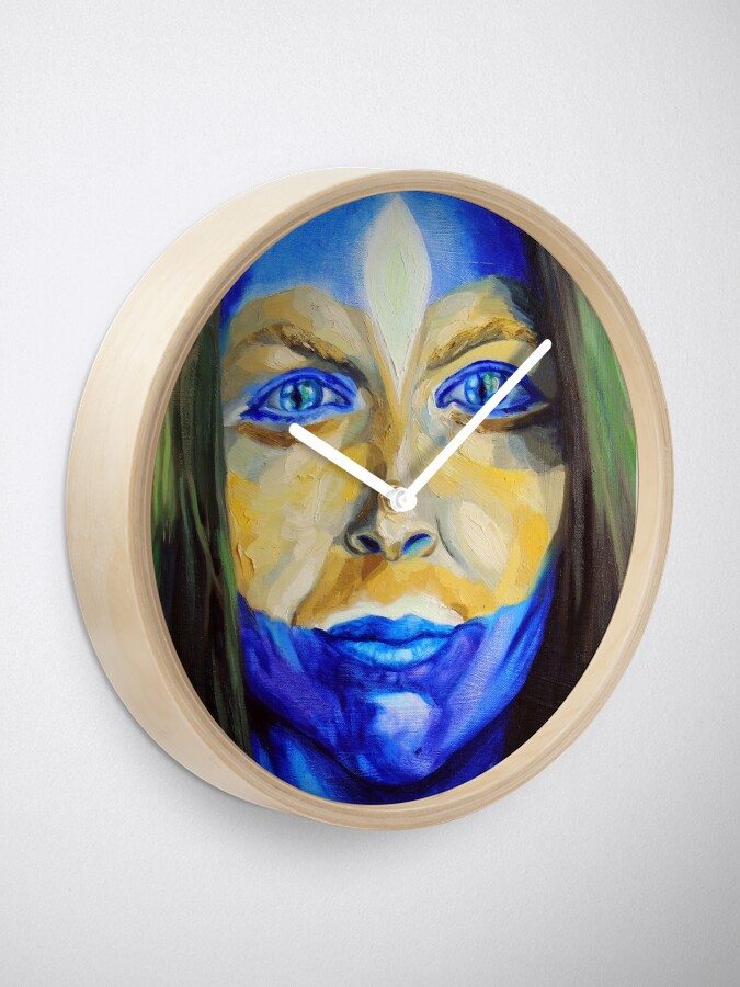 Alternate view of Blue Download (self portrait) Clock