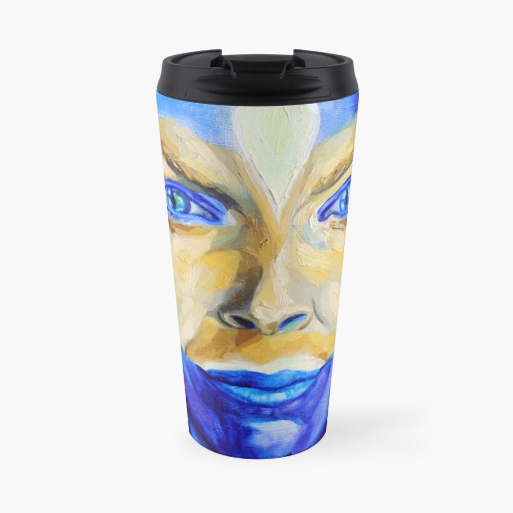 Blue Download (self portrait) Travel Mug