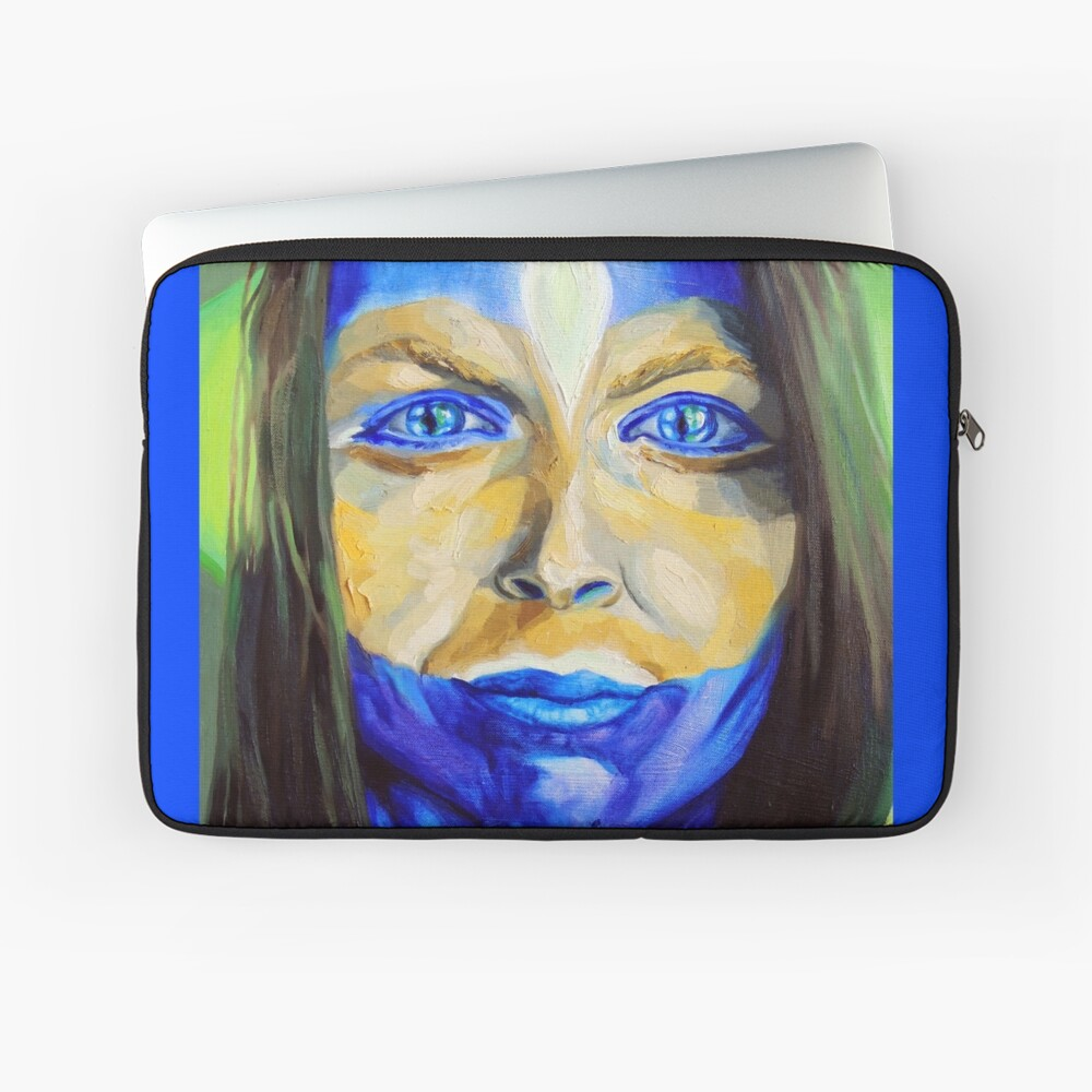Blue Download (self portrait) Laptop Sleeve