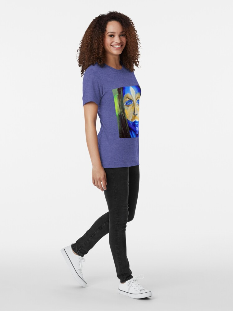 Alternate view of Blue Download (self portrait) Tri-blend T-Shirt