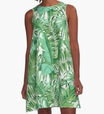 Green tropical leaves II A-Line Dress