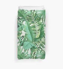 Green tropical leaves II Duvet Cover