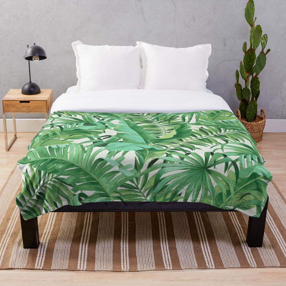 Green tropical leaves II Throw Blanket