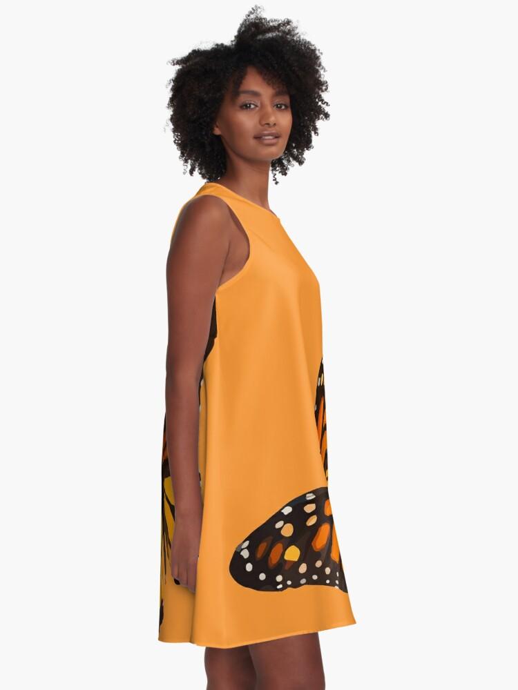 Alternate view of Monarch Butterfly - Burnt Orange A-Line Dress
