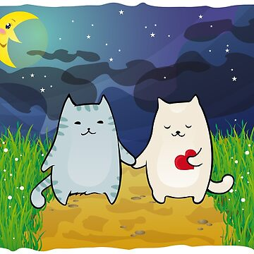 Cats under the moon by -ashetana-