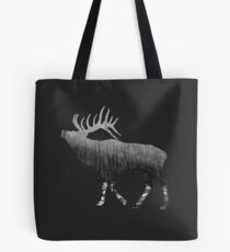 Elk Snowing Forest Tote Bag