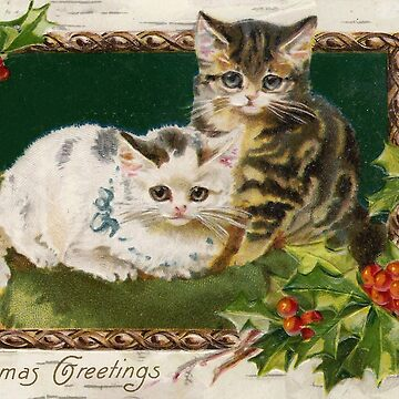 Christmas Greetings - Kittens and holly by Geekimpact