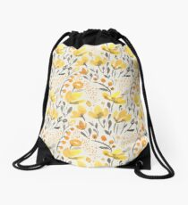 Yellow field Drawstring Bag