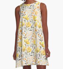 Gelbes Feld A-Linien Kleid