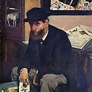 Edgar Degas French Impressionism Oil Painting Bearded Man in Hat Sitting with Art by jnniepce