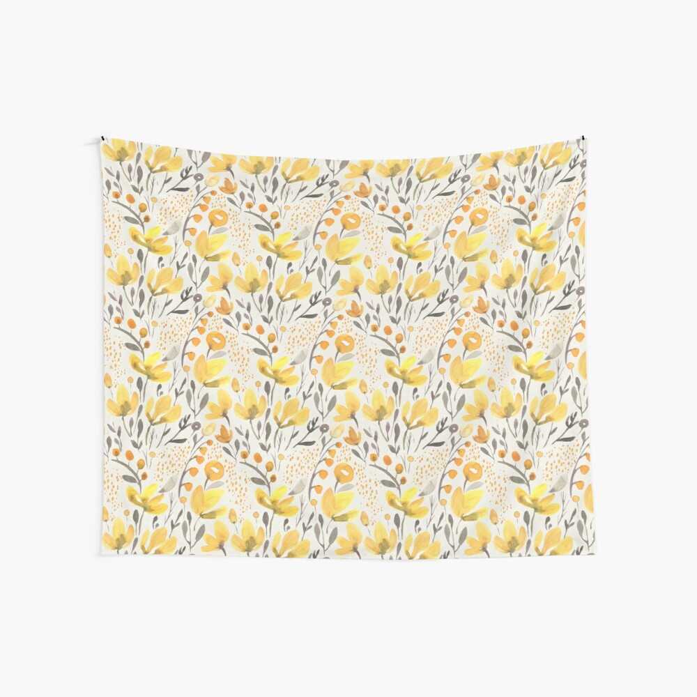 Yellow field Wall Tapestry