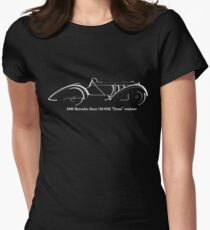 "1930 Mercedes Benz 710 SSK ""Tossi"" roadster white line drawing Womens Fitted T-Shirt"