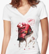 Hellboy Watercolor Design Comic Fanart Women's Fitted V-Neck T-Shirt
