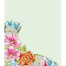 Paradise Paper #001 - Calm - Florales Aquarell von farbcafe