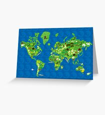 Cartoon Map of Flora and Fauna of the World  Greeting Card