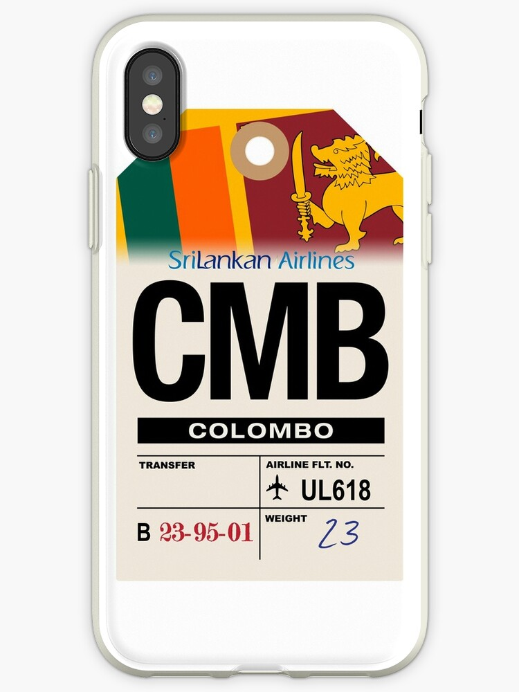 'Colombo (CMB) Sri Lanka Airline Luggage Tag' iPhone Case by Eric Hwang