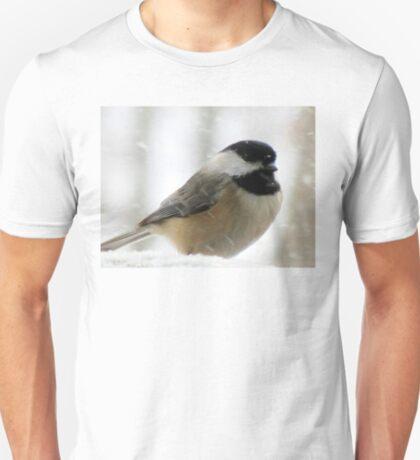 Chickadee In Snowstorm T-Shirt