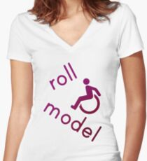 Roll Model - Disability Tees - in purple Women's Fitted V-Neck T-Shirt