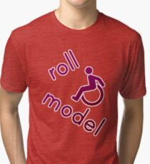 Roll Model - Disability Tees - in purple Tri-blend T-Shirt