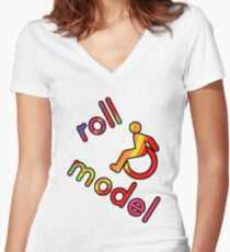 Roll Model - Disability Tees - in bright colours Women's Fitted V-Neck T-Shirt