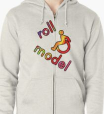Roll Model - Disability Tees - in bright colours Zipped Hoodie