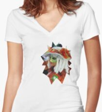 curly white hair Women's Fitted V-Neck T-Shirt