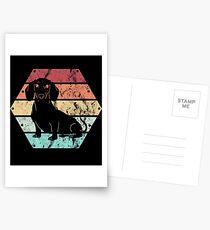 Retro Hund Dackel Teckel Wiener auf Holz Geschenk Postkarten