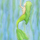 Mermaid with Kelp and Green Bubble by Zaydalicious