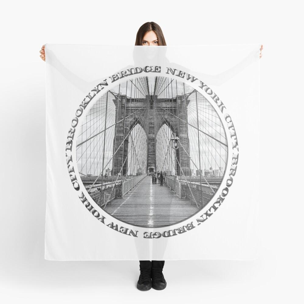 Brooklyn Bridge New York City (black & white badge style on white) Scarf