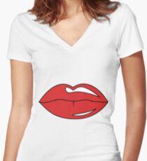 Üppige Lippen Shirt mit V-Ausschnitt