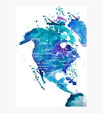 Watercolor Map of North America Photographic Print
