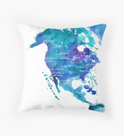 Watercolor Map of North America Throw Pillow