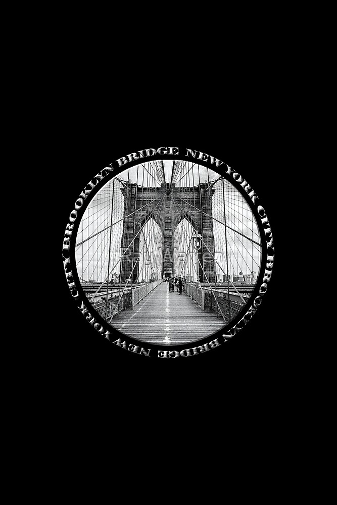 Brooklyn Bridge New York City (black & white badge style on black) by Ray Warren
