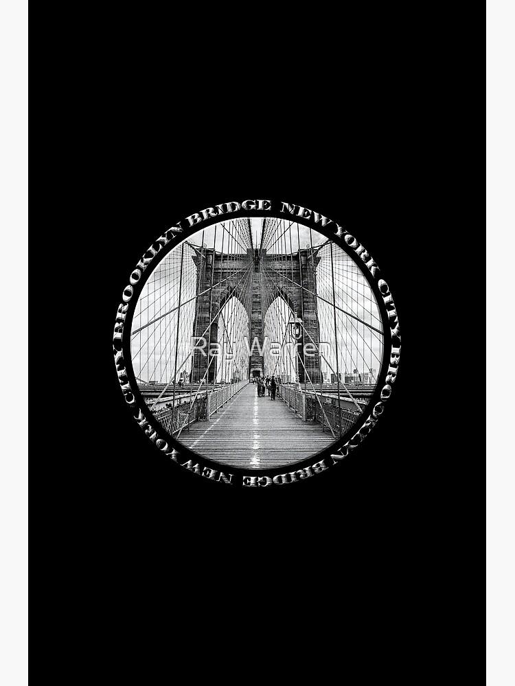 Brooklyn Bridge New York City (black & white badge style on black) by RayW