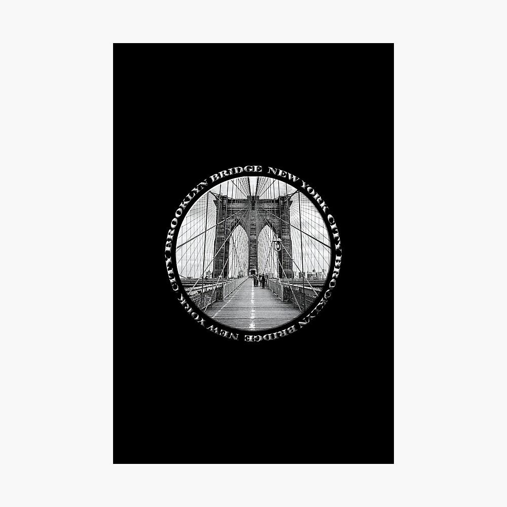 Brooklyn Bridge New York City (black & white badge style on black) Photographic Print