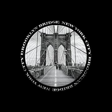 Brooklyn Bridge New York City (black & white badge style on black) by RayW