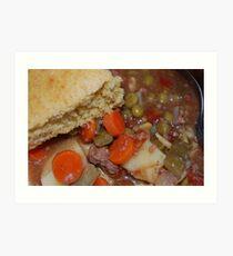 Corn Bread And Crock Pot Hamburger Stew Art Print