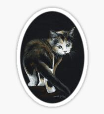 Calico Kitten Pastel on Black Sticker