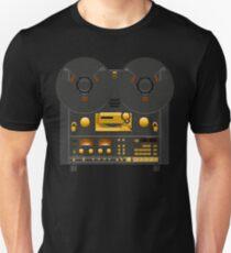 Reel to Reel Tonbandgerät Black Panel Gold Hardware Slim Fit T-Shirt