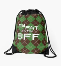 My Fat is My BFF Pixel Style (Round) Drawstring Bag